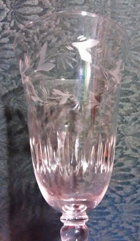 Vintage Glastonbury-Lotus Arcadia Footed Tumbler/Iced Tea Cut Vines/Vertical Lines