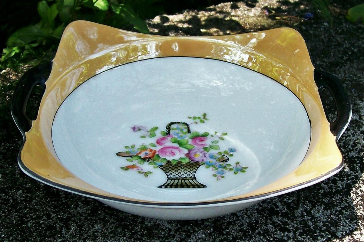 Vintage Noritake Art Deco Bowl Two-handled Luster/ Flower Basket Center 6.5