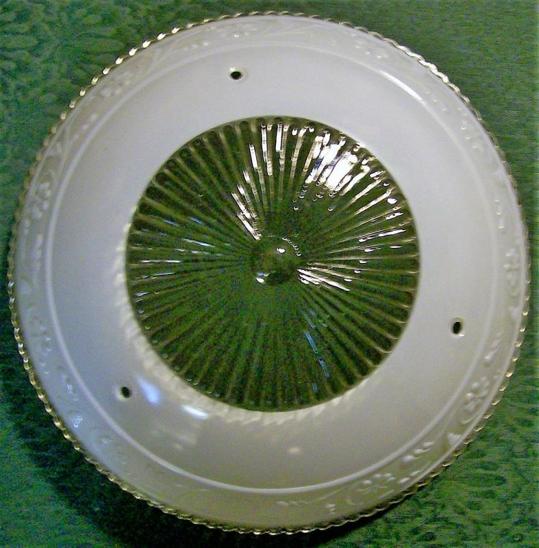 Vintage Glass Ceiling Light Shade Embossed Flower Band White/Clear 10.25