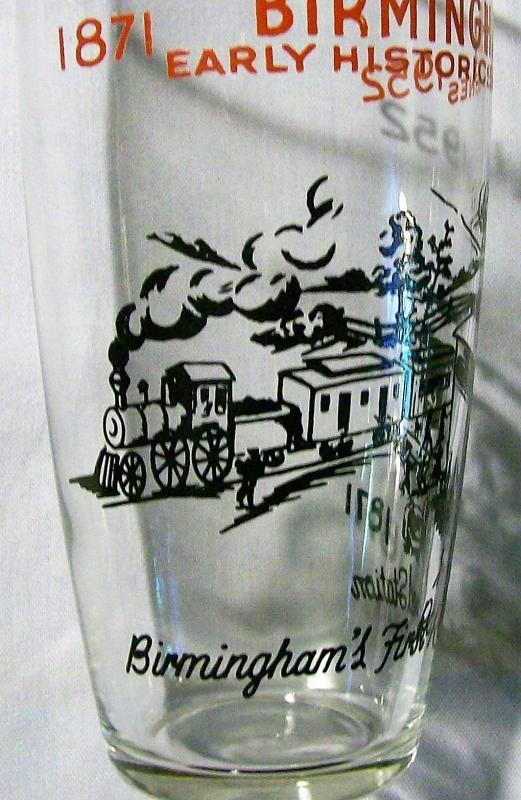 Vintage Birmingham Alabama Historic Railroad Glass Tumbler Pair Ca. 1952