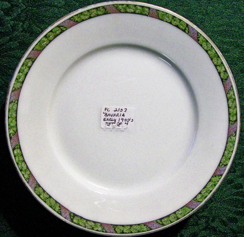 Antique Hutschenreuther Bavarian Plate Set/4 Black/Green/Purple Band 6