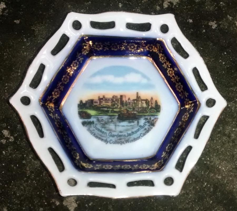 Antique Windsor Canada Souvenir Dish Cobalt Reticulated Hex. Early 1900s