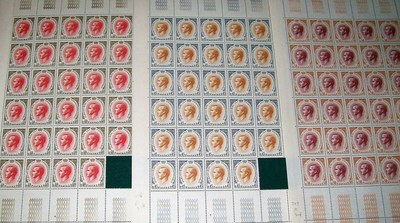 Vintage Monaco Postage Stamps SN#725-727 Uncancelled 1969-70