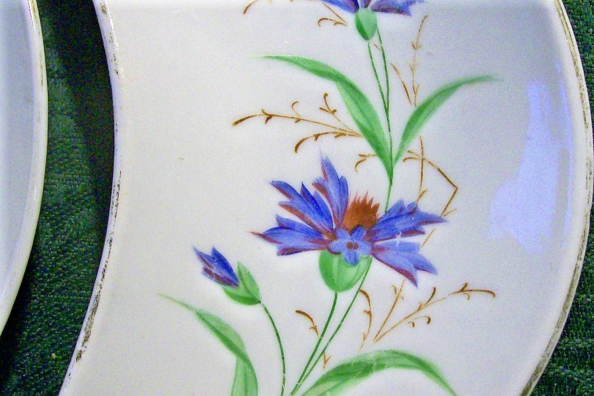 Antique Ironstone Bone Dish Pair HP Blue Cornflowers 1800s