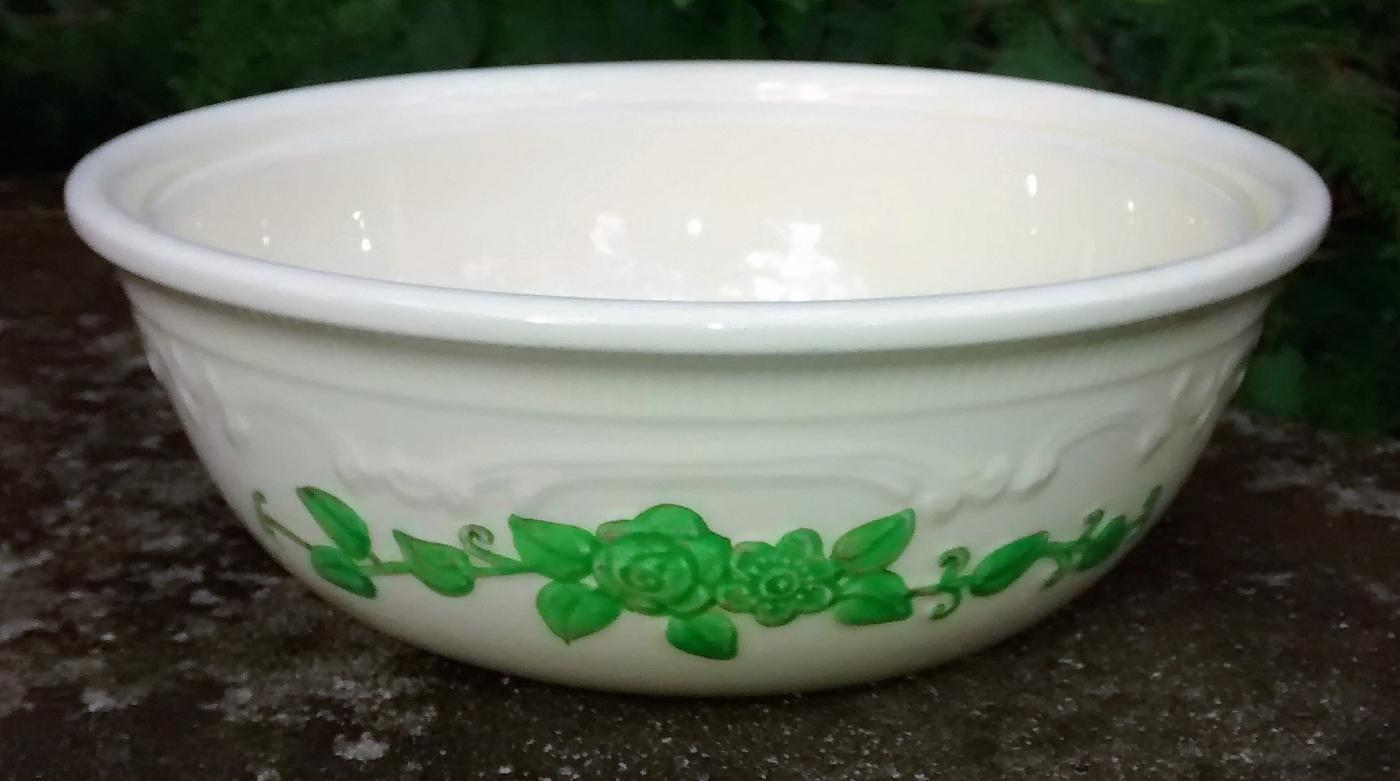 Vintage Laughlin Oven-Serve Embossed Casserole Bottom Green Floral
