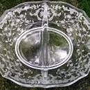 Vintage Fostoria Navarre #2496 Divided Mayo Dish Clear Etched Glass 1936-82