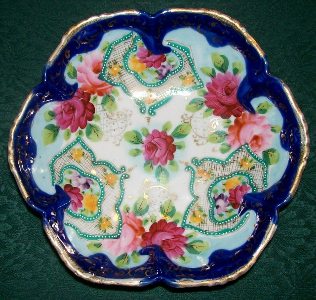 Antique Nippon/Japan Footed Bowl Roses/Cobalt/Gold