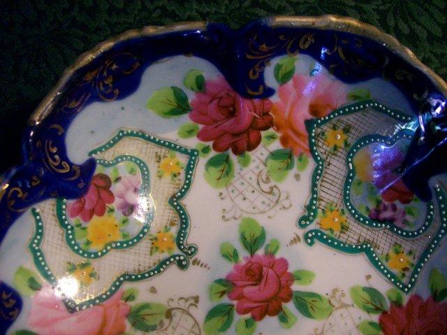 Antique Nippon/Japan Footed Bowl Roses/Cobalt/Gold