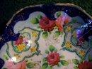 Nippon/Japan Footed Bowl Roses/Cobalt/Gold