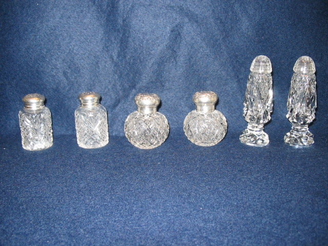 FIVE SETS OF SALT AND PEPPER