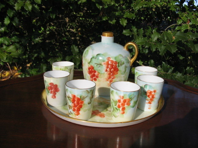 EARLY LIMOGES WHISKEY SET