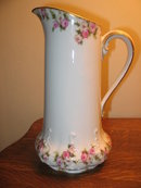 LARGE LIMOGES PITCHER WITH PINK ROSES