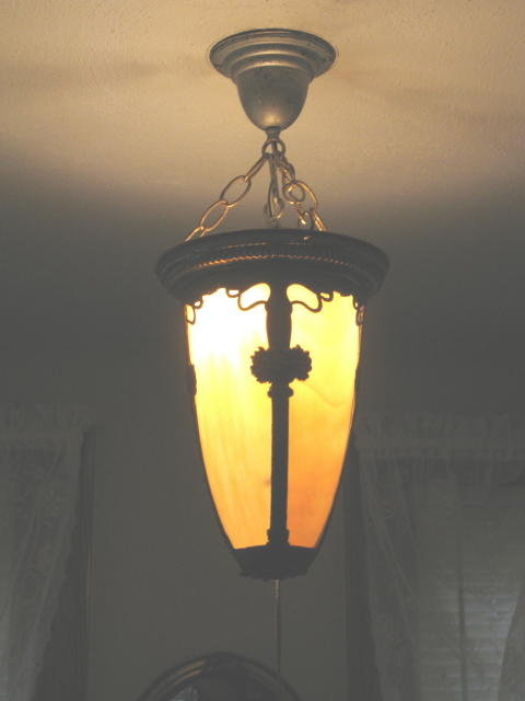 ANTIQUE SLAG  HANGING   LIGHT