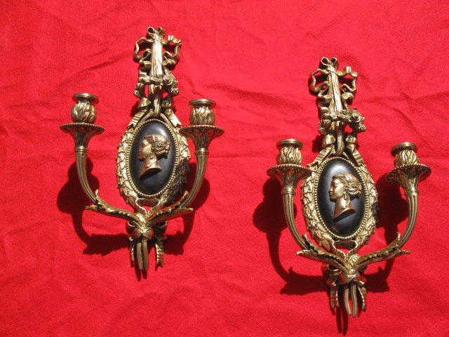 PAIR OF HEAVY BRONZE WALL SCONCES