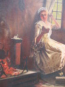 O/C  VICTORIAN GIRL BY KITCHEN FIRE
