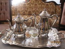 international silverplate tea set with tray