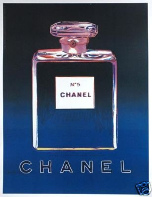 CHANEL POSTER by WARHOL Black/Blue on linen