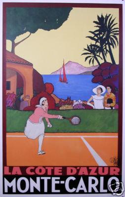 Tennis Cote D'Azur Monte Carlo poster 2002 26x39 inches