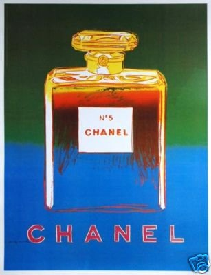 CHANEL POSTER by WARHOL Green/Blue on linen