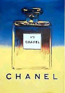 CHANEL POSTER by WARHOL Blue/Yellow on linen