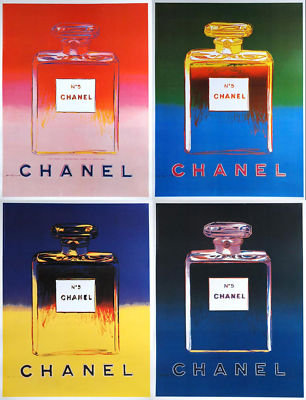 Medium CHANEL POSTER set of 4 by WARHOL 1997 on linen