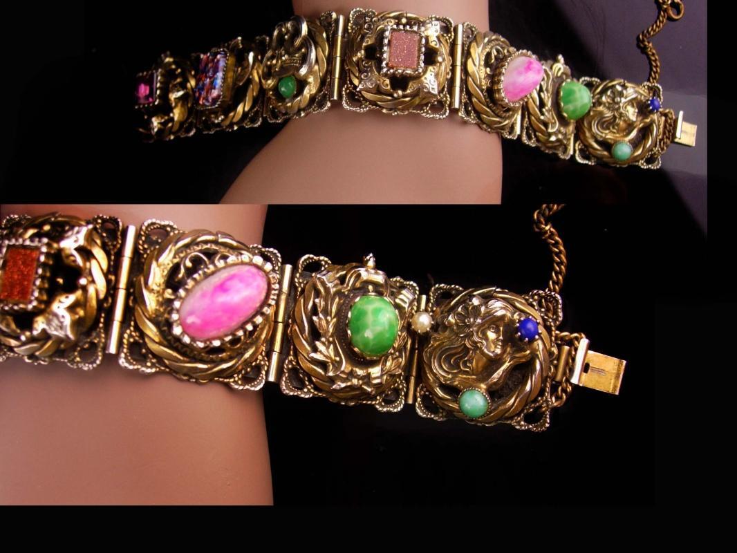 Antique Victorian bracelet Art Nouveau lady face peking & foil Glass Edwardian Goldstone renaissance Vintage costume jewelry