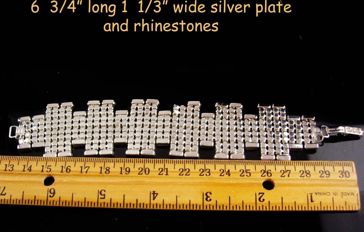Signed Vintage 10 row bracelet BRILLIANT Baguette Rhinestones Showstopper bracelet LOADED with glass stones Garne jewelry