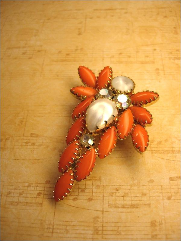 HUGe vintage brooch orange Dramatic Rhinestone and pearl cascading navettes