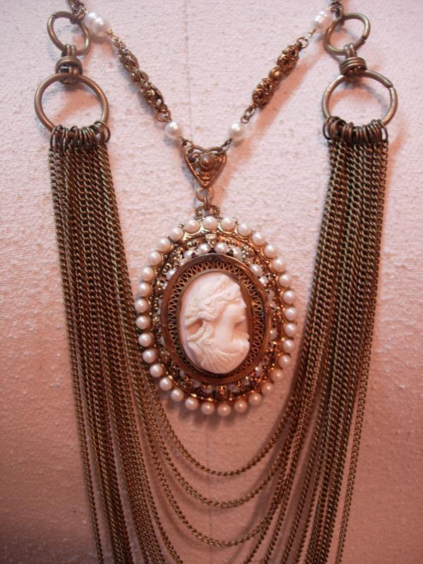 Vintage Angel Skin Coral Cameo Necklace genuine pearls Huge statement piece