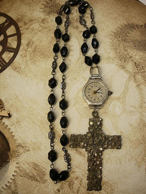 Victorian Paste cross deco watch necklace Black rosary bead necklace