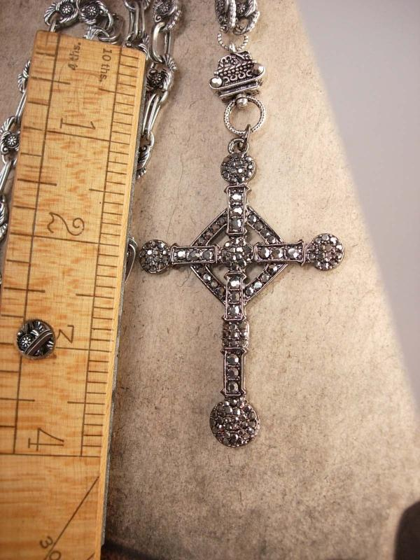 HUGE Gothic marcasite Cross necklace Elaborate nouveau style chain