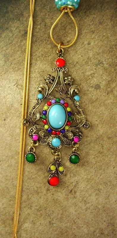 Bohemian Chandelier Drop Slide necklace Turquoise Red Purple