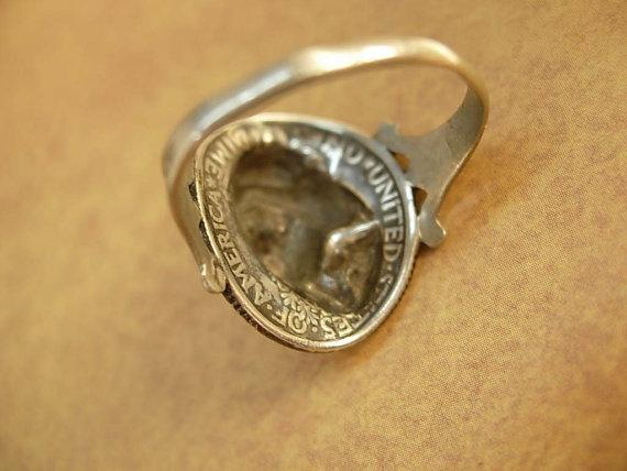 ANtique Coin ring 1918 Silver Mercury dime Victorian memento Mucha goddess