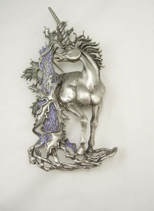 VIntage Unicorn brooch / HUGE vintage pin / Mythological horse / FIGURAL 4