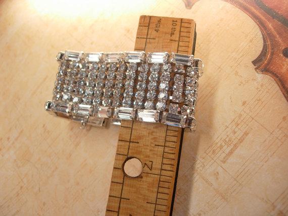 Vintage 7 row bracelet BRILLIANT Baguette Rhinestones Showstopper bracelet LOADED with glass stones