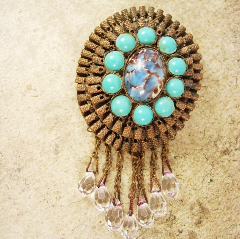 Antique brooch RARE VICTORIAN Ruffle Brooch turquoise Filigree Chandelier pin C clasp Glass prism drops
