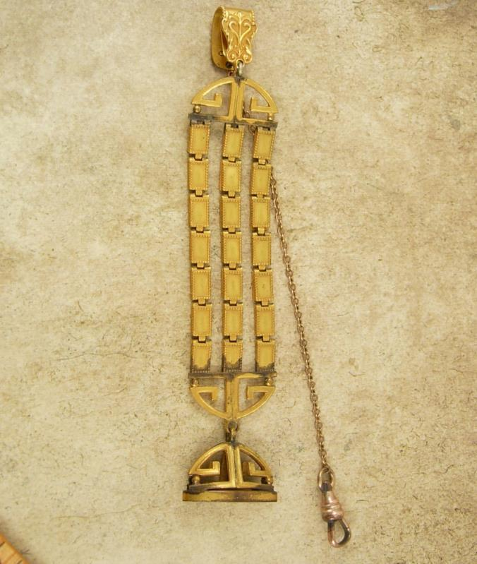 Antique fancy art deco Watch chain and fob seal greek key