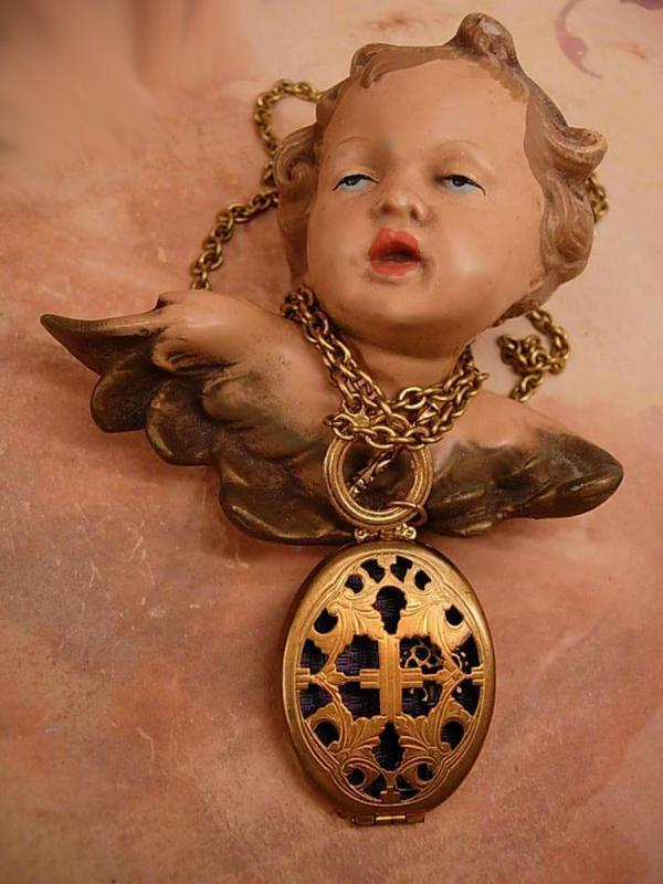 Antique Victorian Religious Medieval Locket necklace & watch chain with Miniature skeleton key