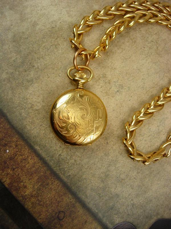 Lady Hamilton pocketwatch necklace 17 jewel  hunting case gold filled enamel clock face