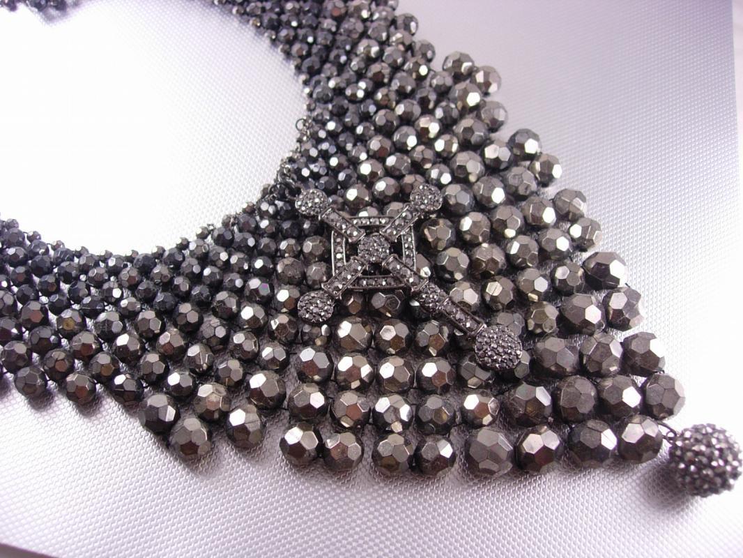 Hauntingly Dark Marcasite Cross Bib necklace Huge Gothic statement piece