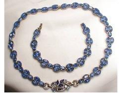 1940's BLUE GLITZY Rhinestone DEmi Parure