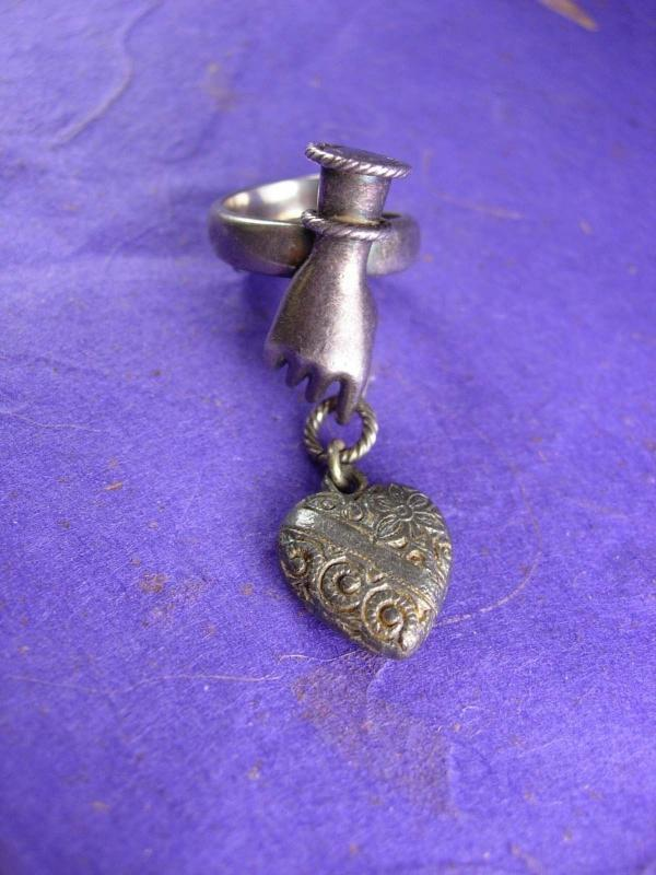 Antique  Ring Sterling VIctorian HAND with puffed heart charm Signed Lross Germany