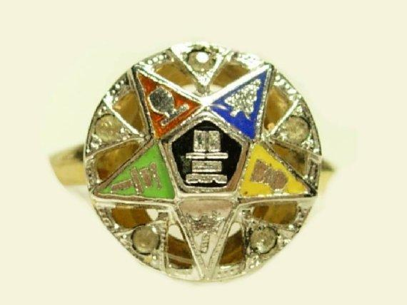 Vintage GOLD filled enamel rhinestone Eastern Star masonic Ring with HISTORY various size