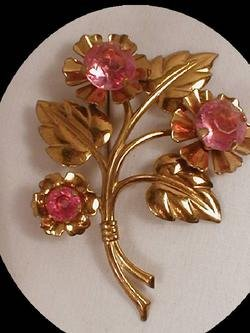 HUGE early PINK Paste Ornate layered BRooch