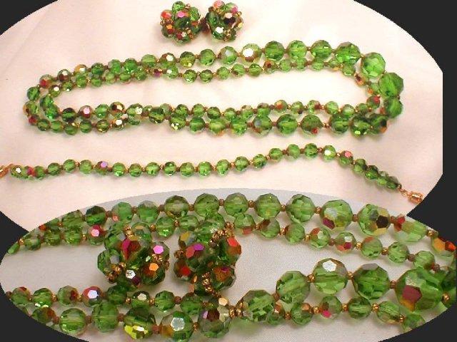 1940's GREEN Crystal CUT aurora Borealis CHOKER