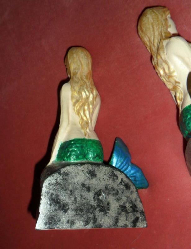 Vintage Large Cast mermaid Bookends enameled Goddess of the Sea nautical mythological Greek fairy tale siren
