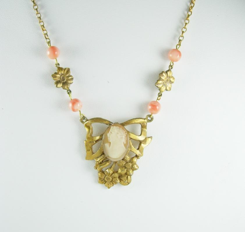 Antique Victorian cameo necklace angelskin coral original chain
