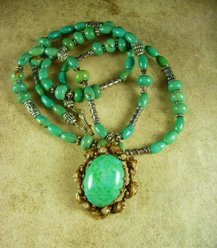 Vintage Czech Necklace Sterling Turquoise and Brass pendant with Paste rhinestones Made in Czechoslovakia