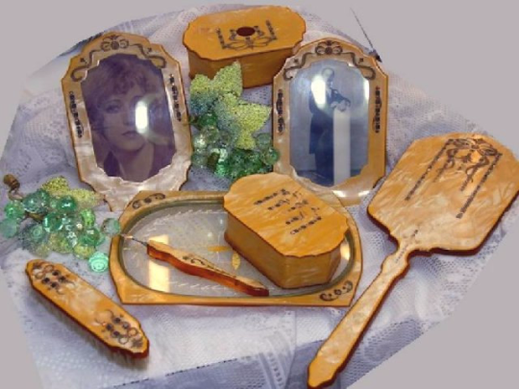 ART DECO JEWELED celluloid vintage Vanity Set Mirro Brush Tray boxes and so much more