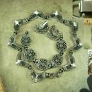 Medieval Goddess necklace statement collar choker bib Bracelet clip on earrings Heavy pot metal Monet parure